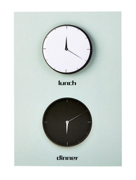 Post it notes, clocks in black and white