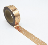 Washi tape, rose gold with dots