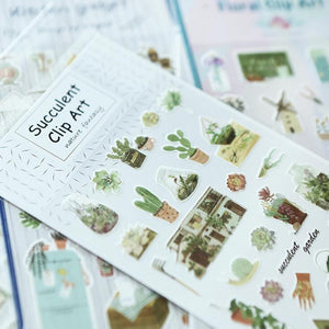 Succulent Plant Stickers - Wang's Wonderful World