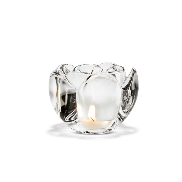 Lotus Tealight Holder, Clear, 3.5""