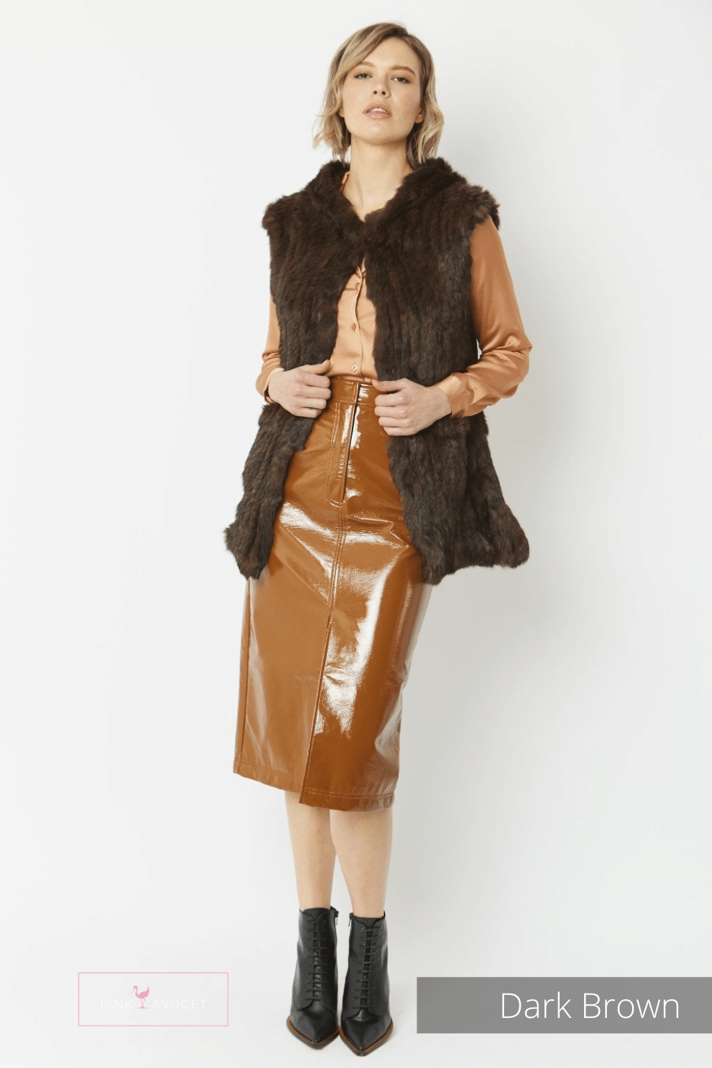 Long Hooded Fur Gilet