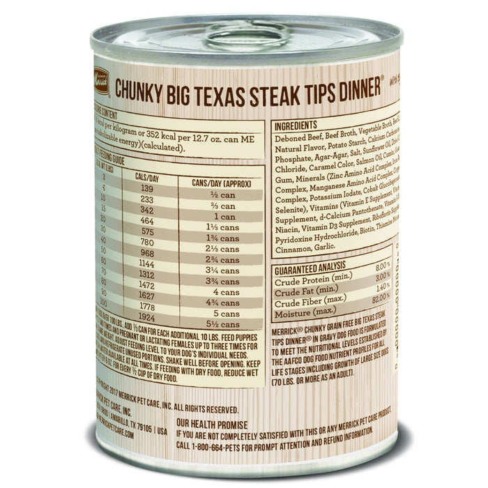 Merrick Grain Free Big Texas Steak Tips Dinner Canned Dog Food
