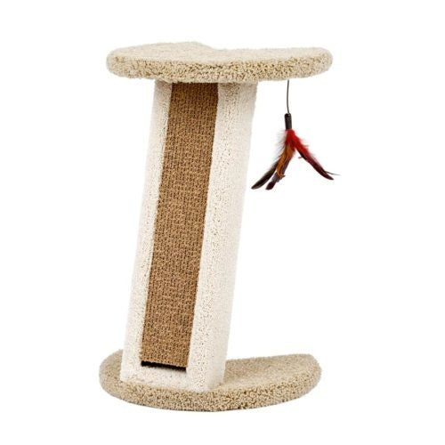 Classy Kitty Corner Scratcher with Cardboard Insert & Feather Toy