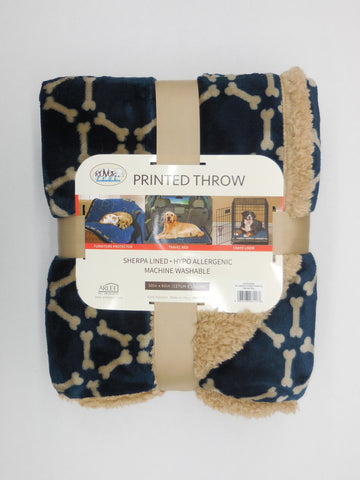 Arlee Pet Products Folded Two Layer Hexabone Midnight Blue/Tan Throw Blanket