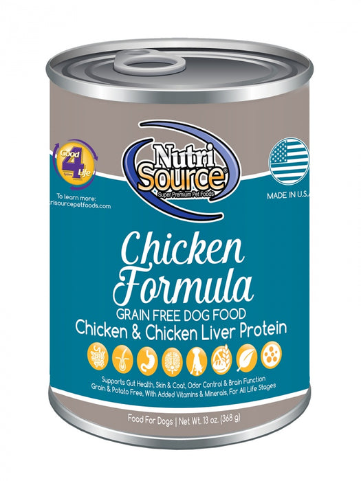 NutriSource Grain Free Chicken Formula Canned Dog Food