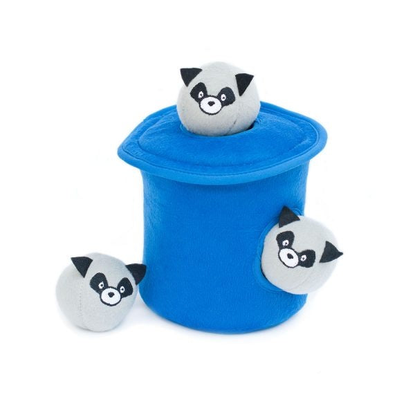 ZippyPaws Zippy Burrow Raccoons in Trash Can with Bubble Babiez Hide and Seek Puzzle Dog Toy