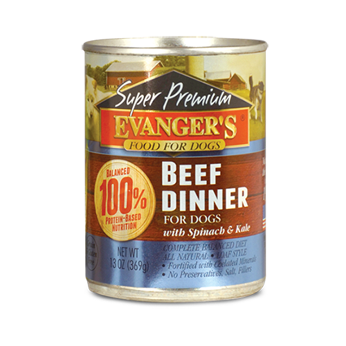 Evanger's Super Premium Beef Dinner with Spinach and Kale 12.8oz can
