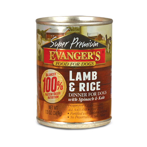 Evanger's Super Premium Lamb & Rice Dinner with Spinach and Kale 12.8oz can