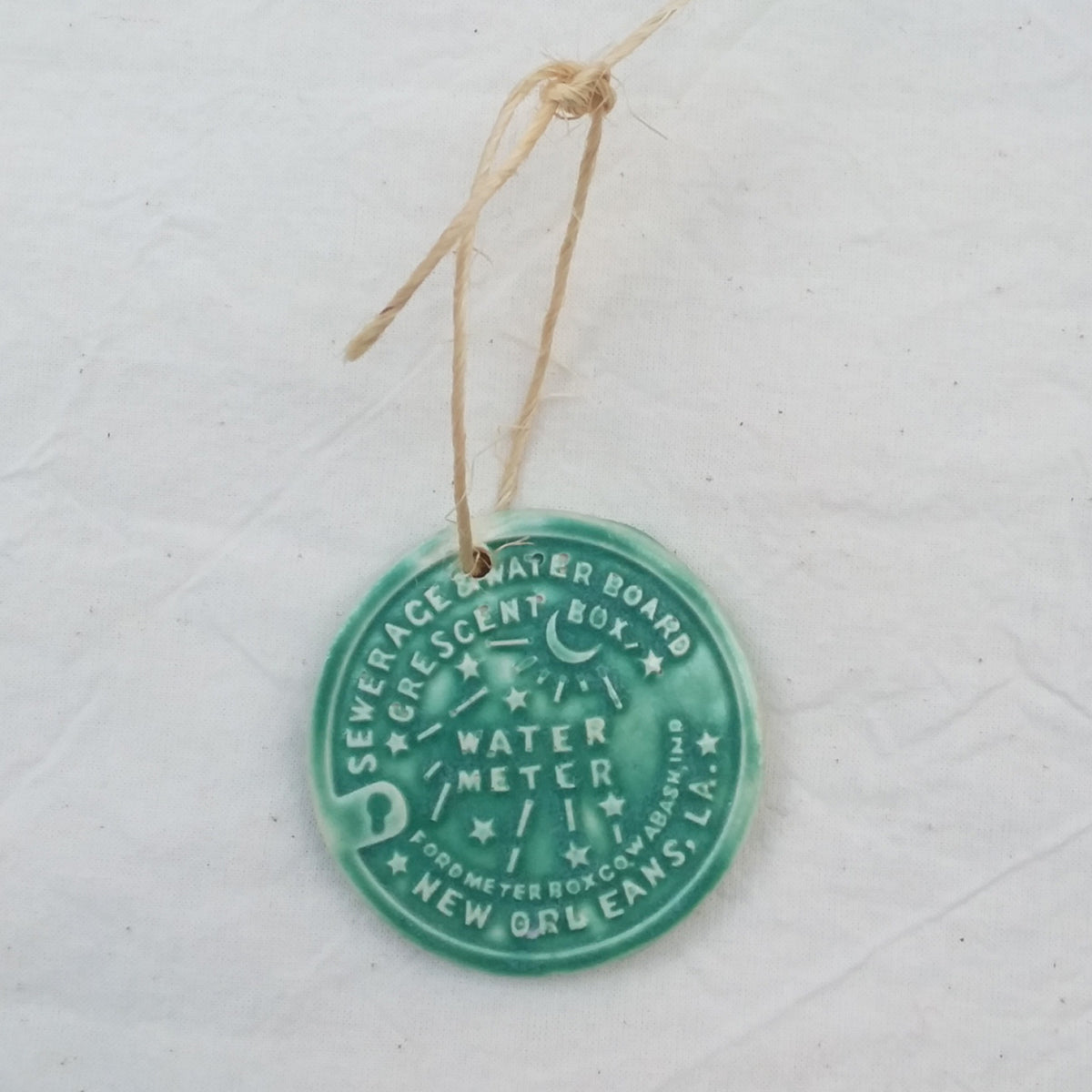 Ornament- Porcelain Water Meter with Hanging Twine