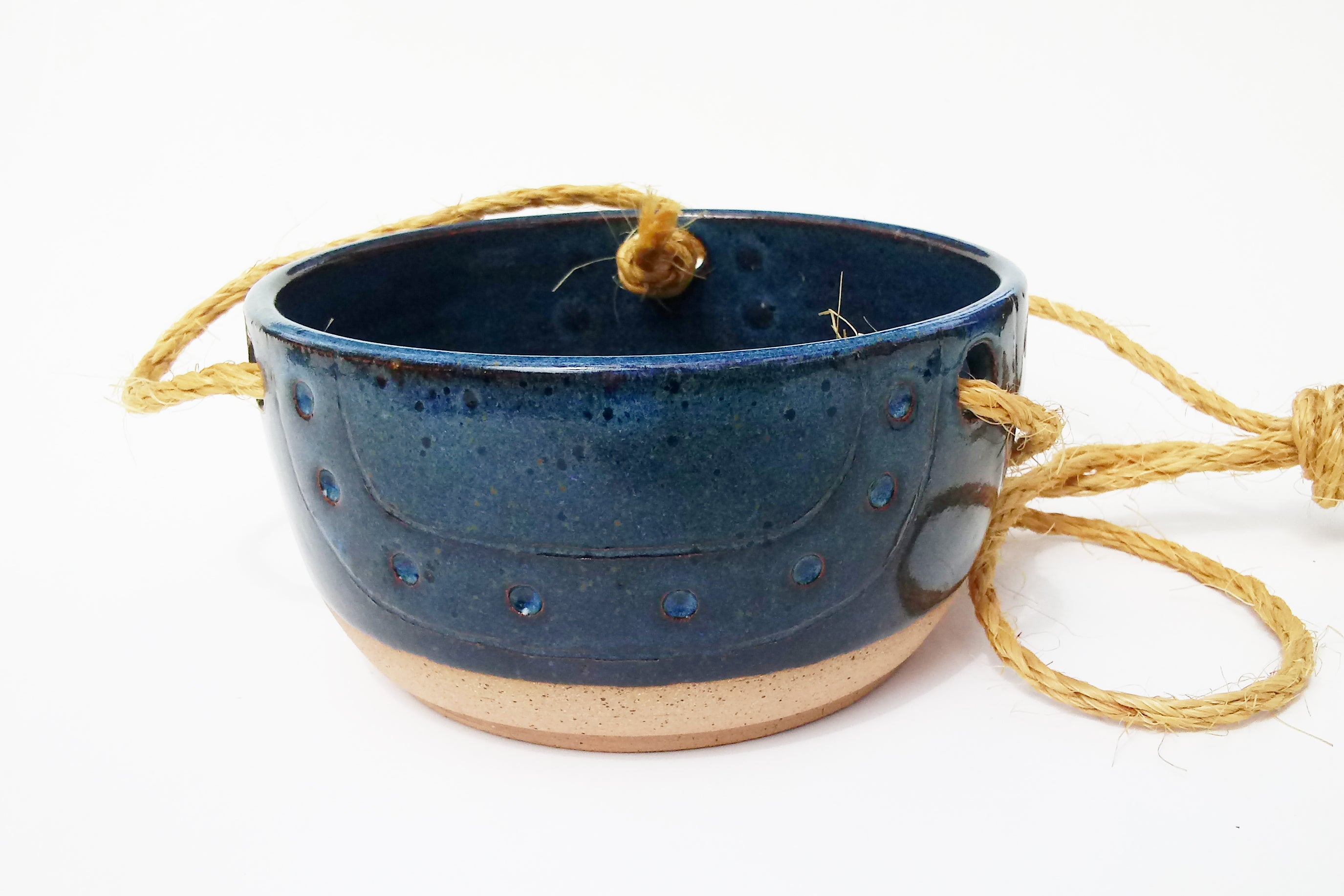 Ceramic Hanging Planter- Bayou Blue-Carved