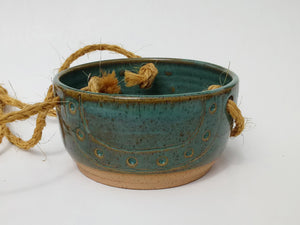 Ceramic Hanging Planter- Marsh Green-carved