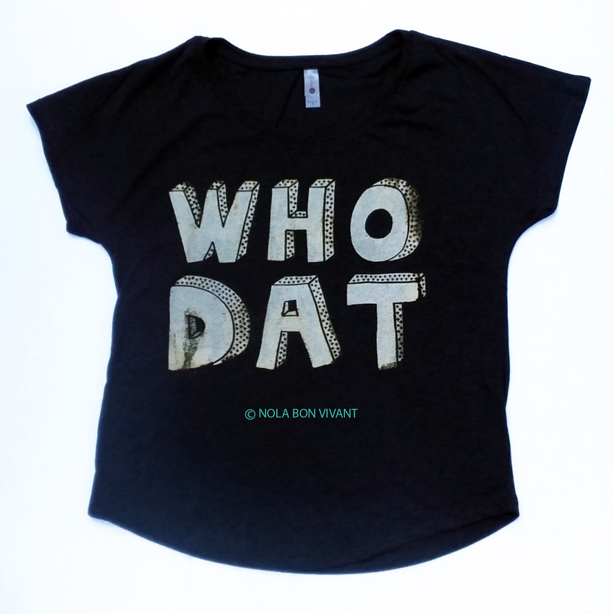 WHO DAT tee, black and gold, New Orleans Saints, Football Tee, ladies, dolman, free shipping