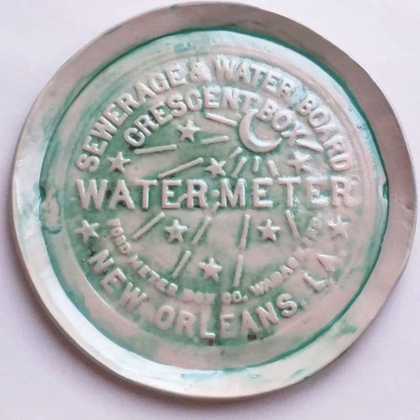 RAIN FOREST GREEN WATER METER PLATTER