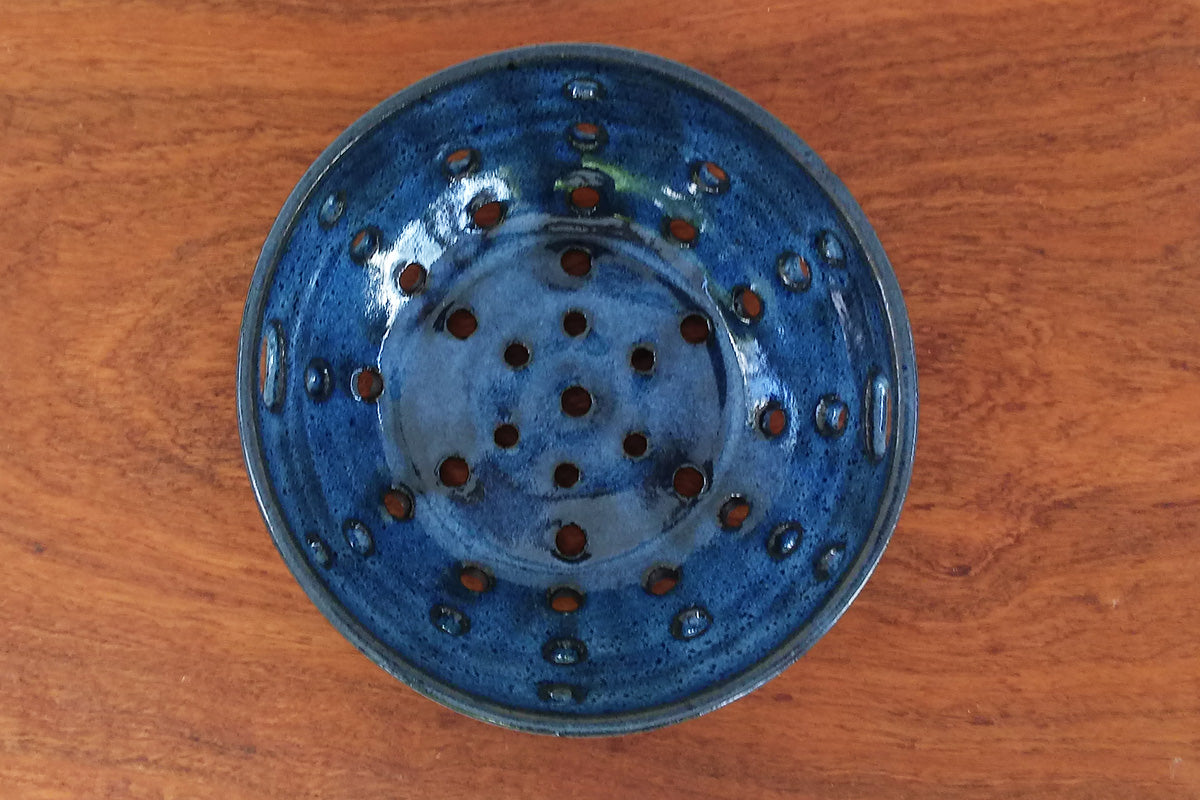 Ceramic Berry Bowl/ Colander- Coastal Blue