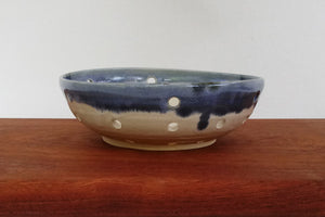 Ceramic Berry Bowl/ Colander- White with Blue Rim