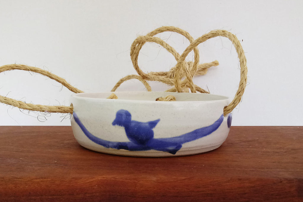 Ceramic Birdbath/Feeder/Planter- White & Blue