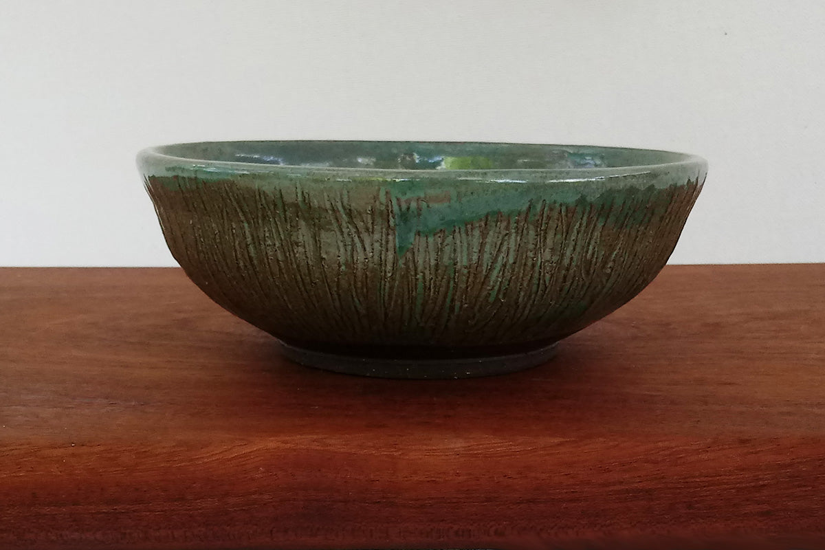 bowl-green-carved