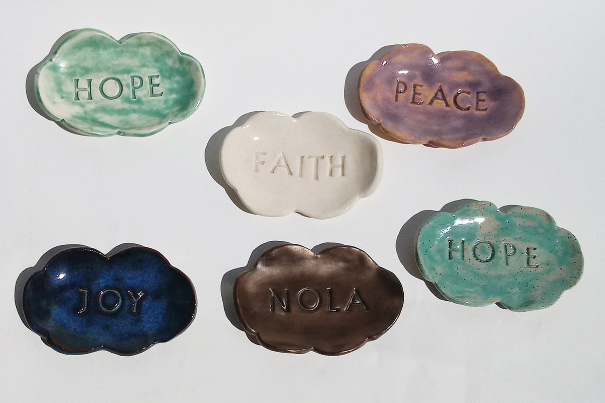 Ceramic Cloud Dish- various text and glazes