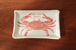 "Ceramic Plate- ""Eat More Shrimp"" Crab"