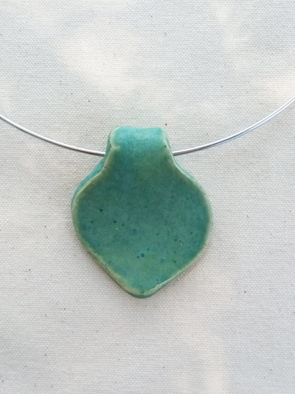 Necklace- Heart Inspired Ceramic Pendant on Hoop Necklace