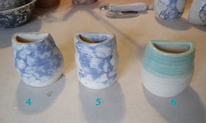 Ceramic Wall Pocket Vases- Magnets on Back