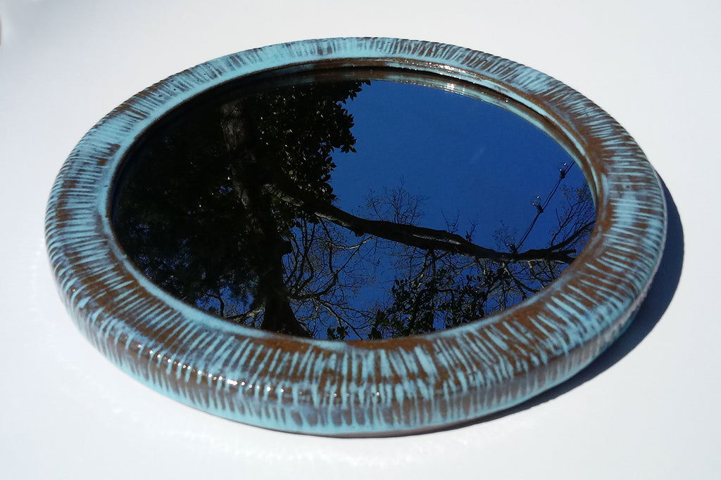 "Ceramic Wall Mirror- 11 1/2"" Electric Blues Carved"