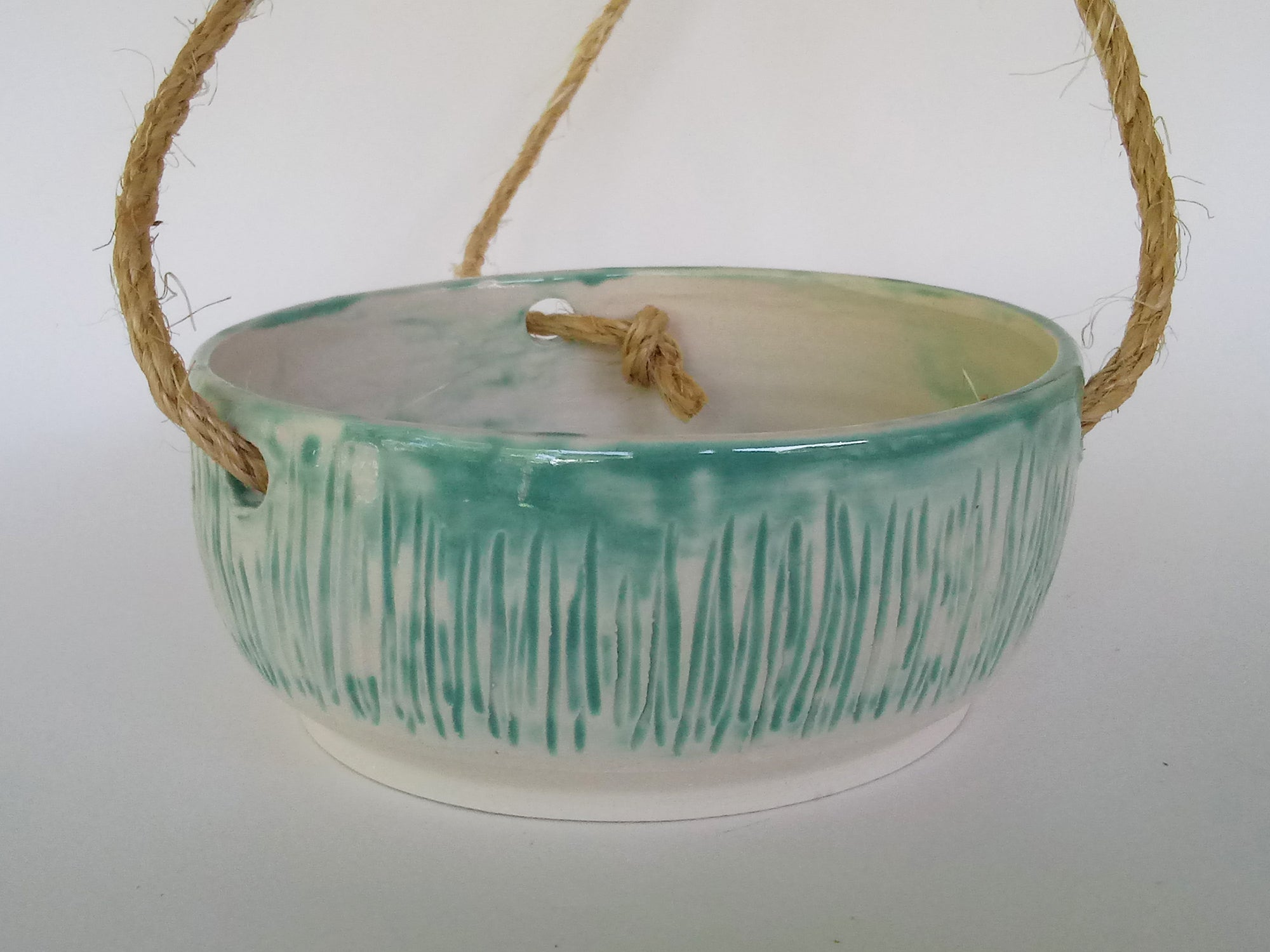 Ceramic Hanging Planter- Shimmer Green Carved Marsh