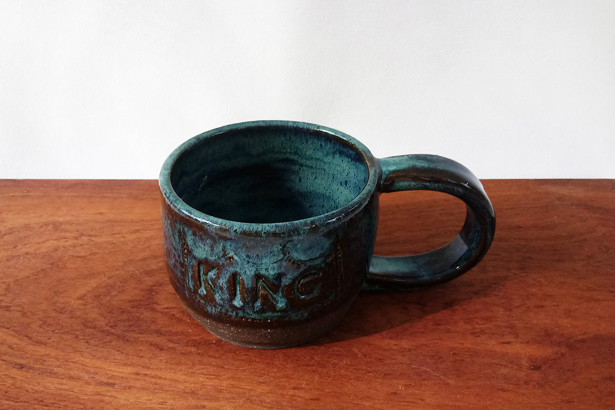 Ceramic Mug- King and Queen- Royal Green on Chocolate Clay