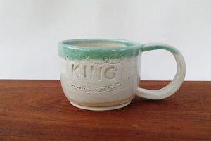 Ceramic Mug- King and Queen- White with Green Rim