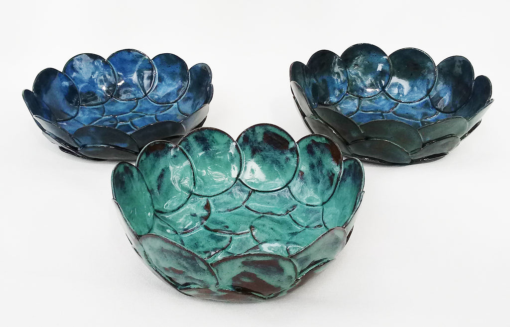 Ceramic Petals Bowls - Green or Blue