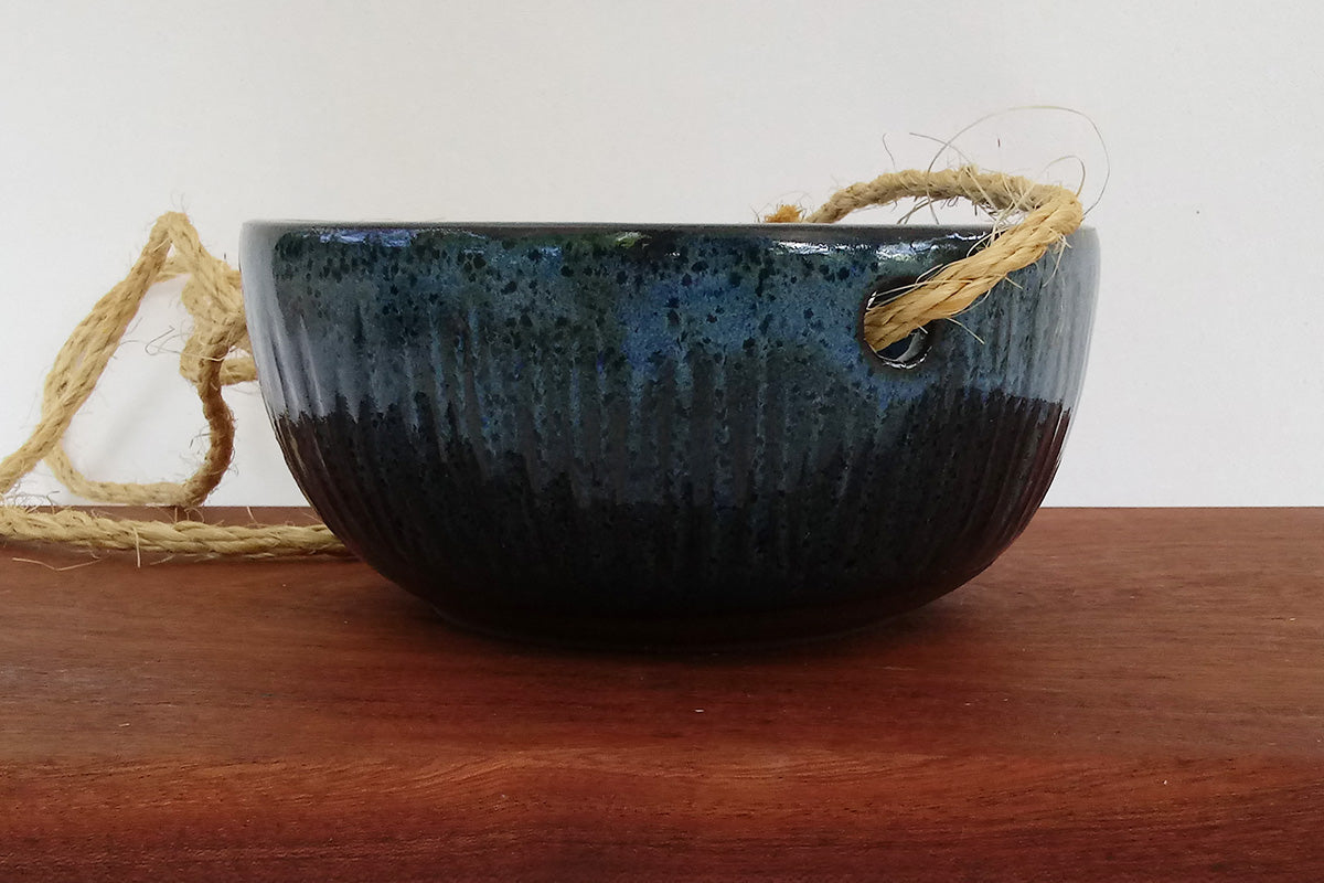 Ceramic Hanging Planter- Coastal Blue Carved
