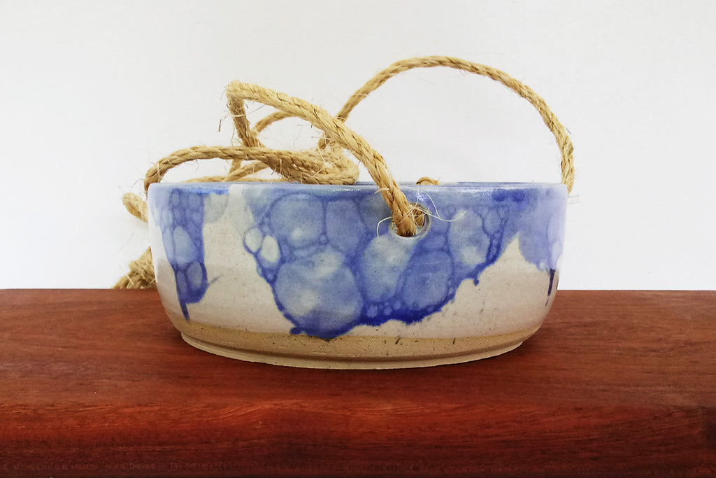 Ceramic Hanging Planter- Blue Bubbles