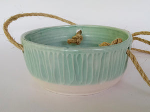 Ceramic Hanging Planter- Pale Green Carved