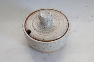 Ceramic Sugar/Salt Bowl with Spoon-Speckled White