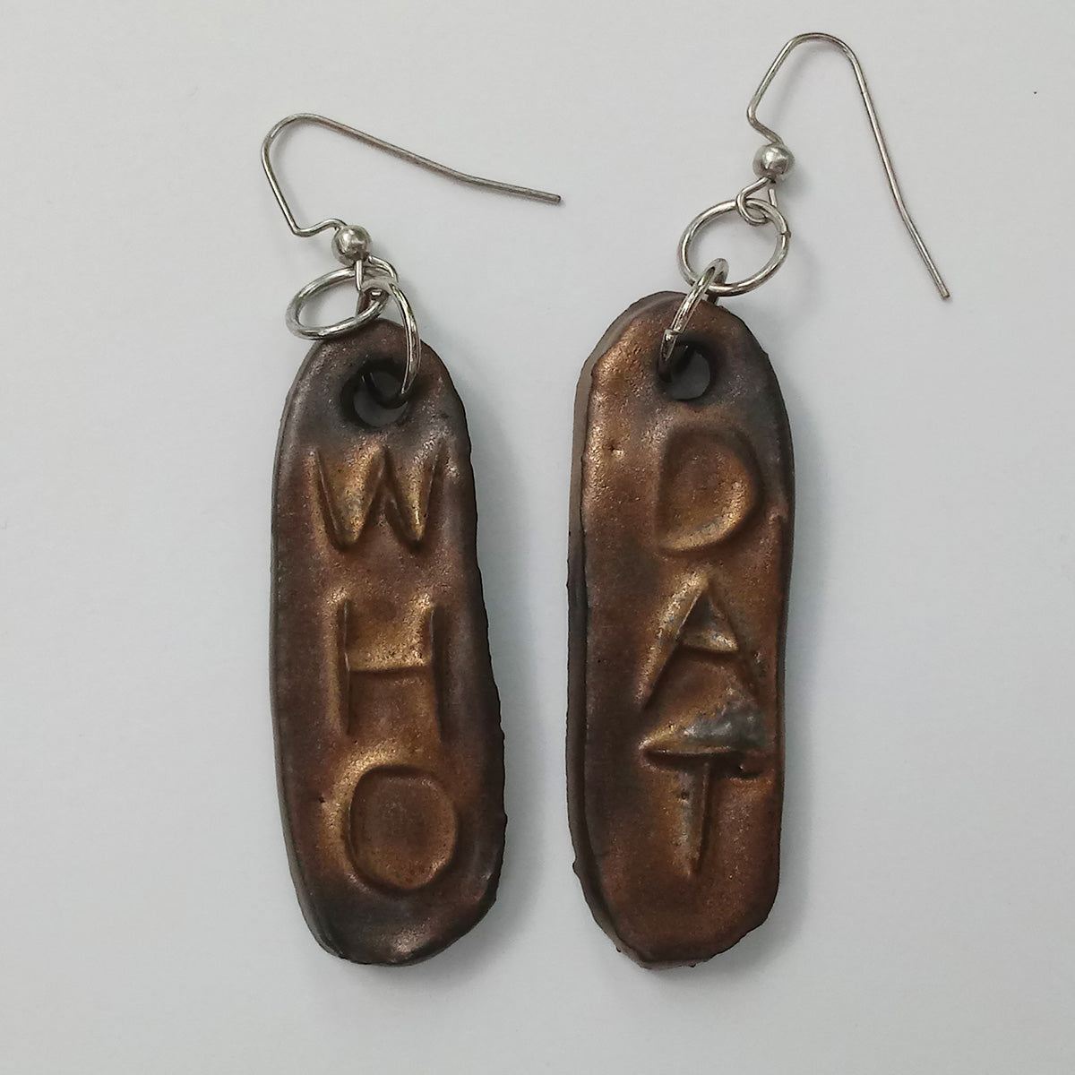 WHO DAT Ceramic Earrings- Saints Gold