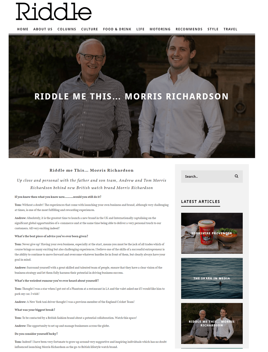 Morris Richardson Founders Feature in Riddle Magazine Online