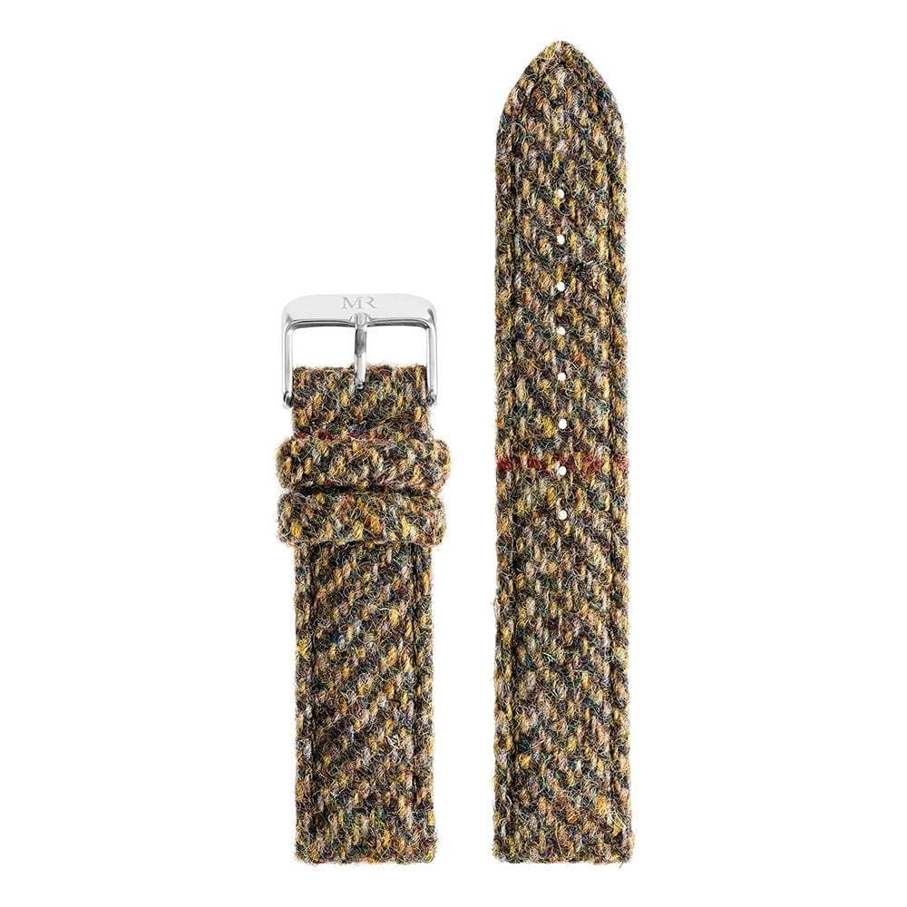 Mens Green Herringbone Harris Tweed Watch Strap - Morris Richardson
