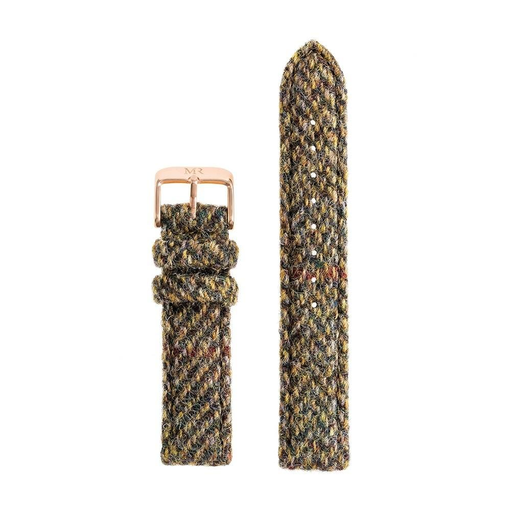 Womens Green Herringbone Harris Tweed Watch Strap - Morris Richardson