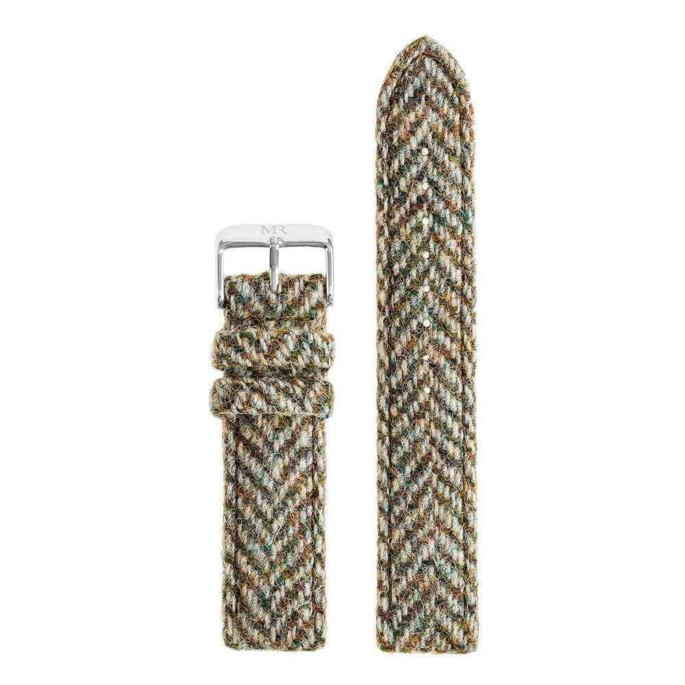 Mens Light Green Herringbone Harris Tweed Watch Strap - Morris Richardson