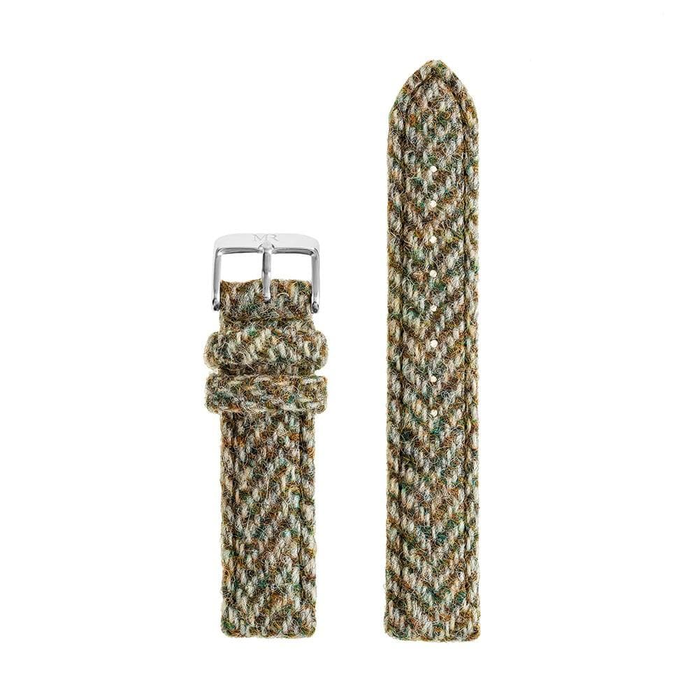 Womens Light Green Herringbone Harris Tweed Watch Strap - Morris Richardson