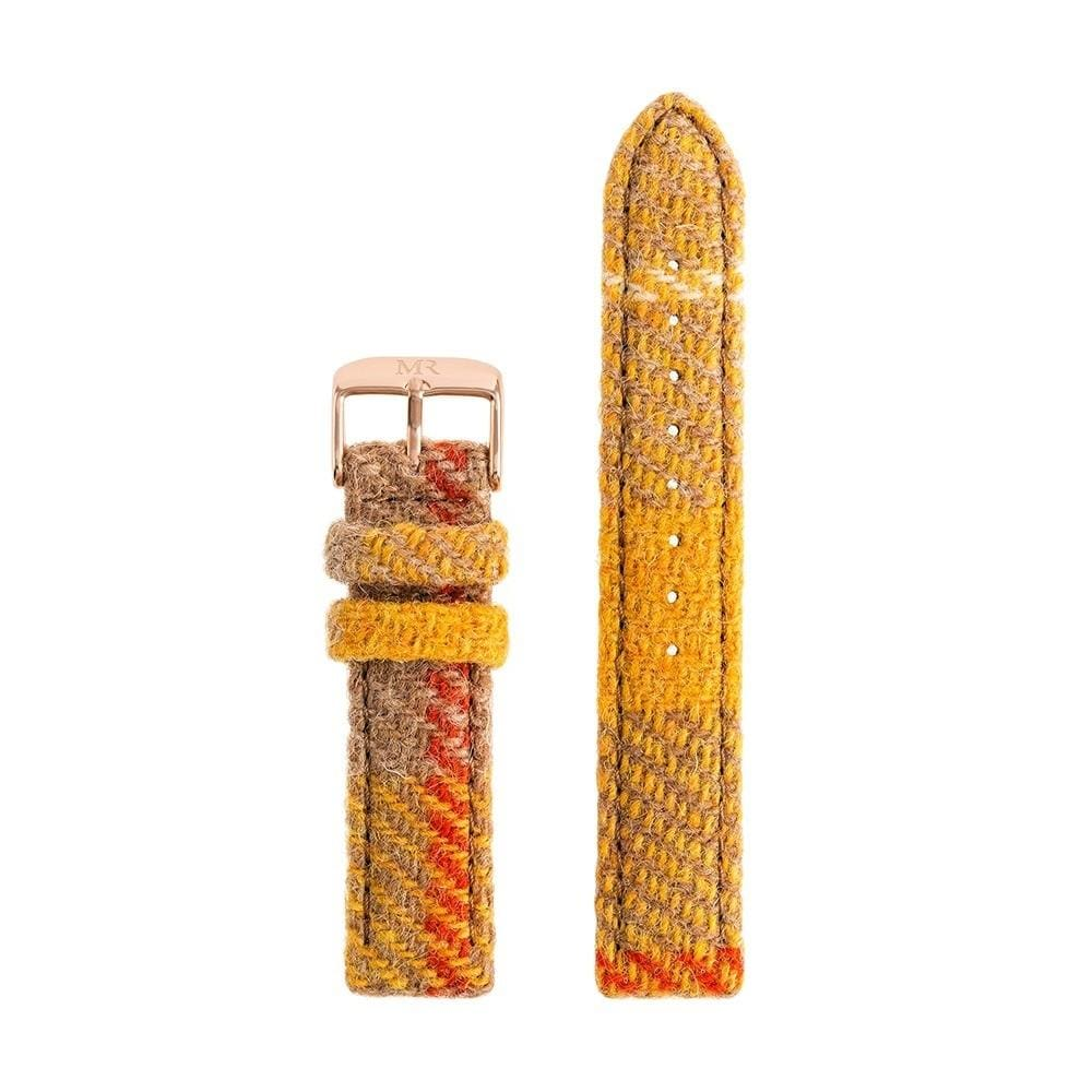 Womens Yellow and Brown Tartan Harris Tweed Watch Strap - Morris Richardson