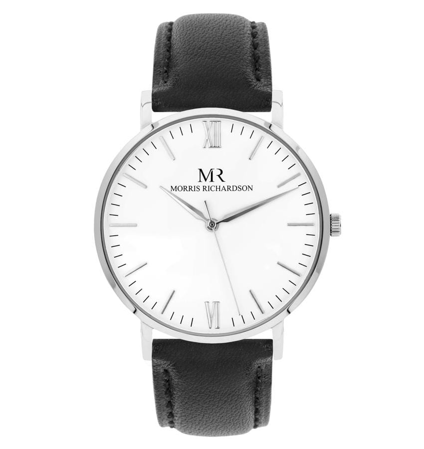 Chequers Watch Leather 40mm Silver – Morris Richardson