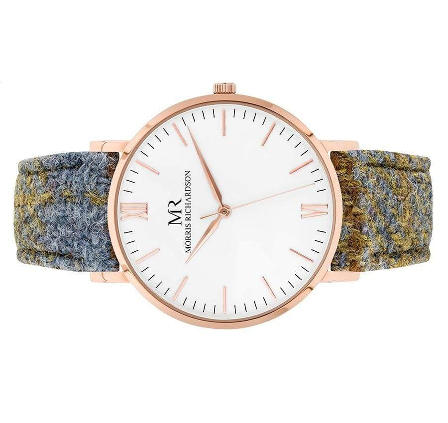 Highclere Watch Harris Tweed 40mm Rose Gold – Morris Richardson