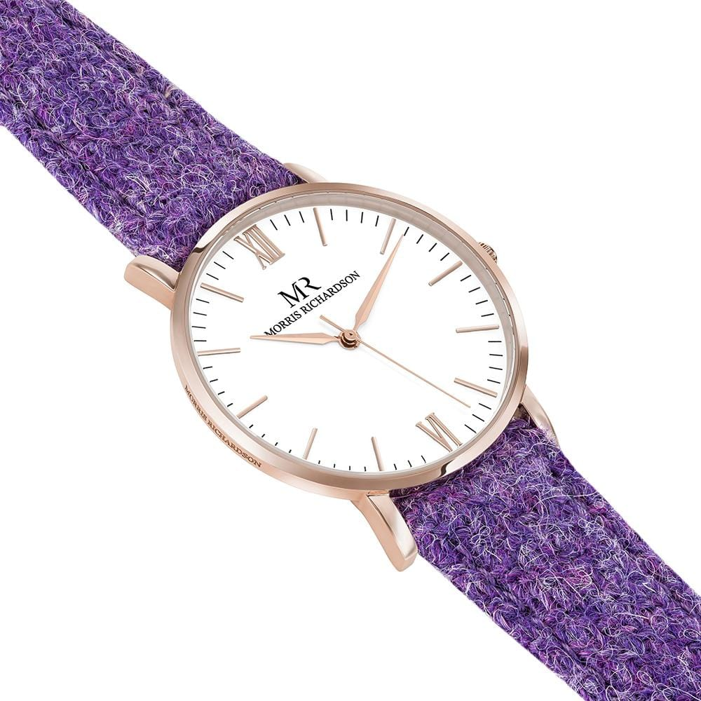 Womens Burghley Classic Rose Gold 36mm Harris Tweed Watch – Morris Richardson