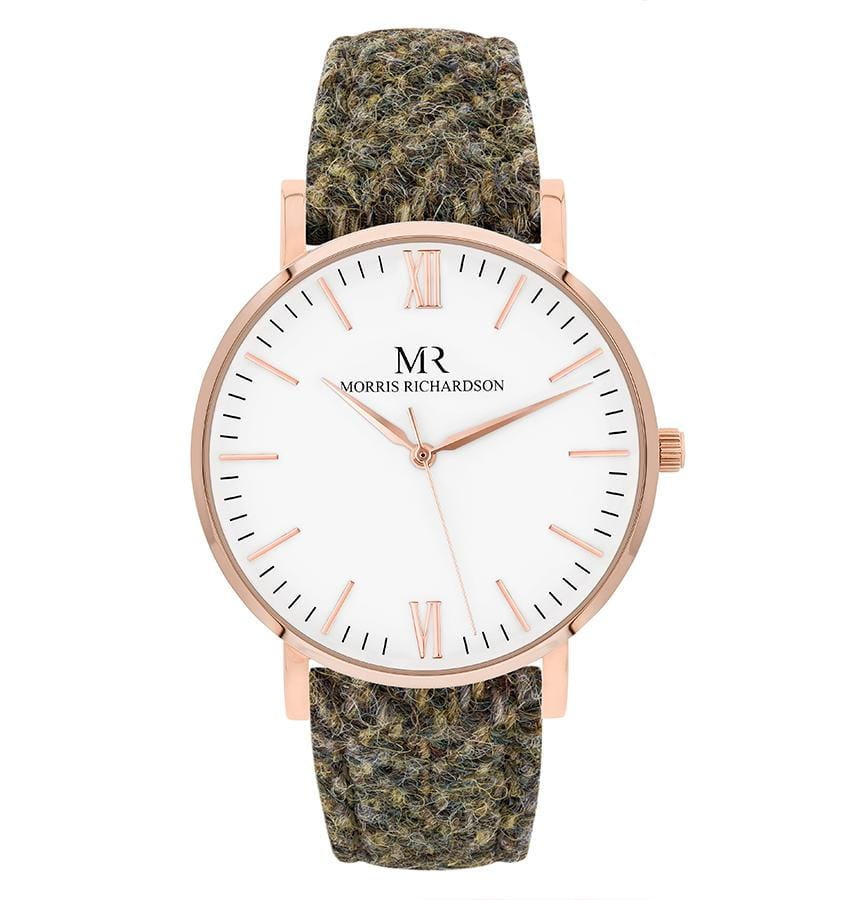 Womens Chatsworth Classic Rose Gold 36mm Harris Tweed Watch – Morris Richardson