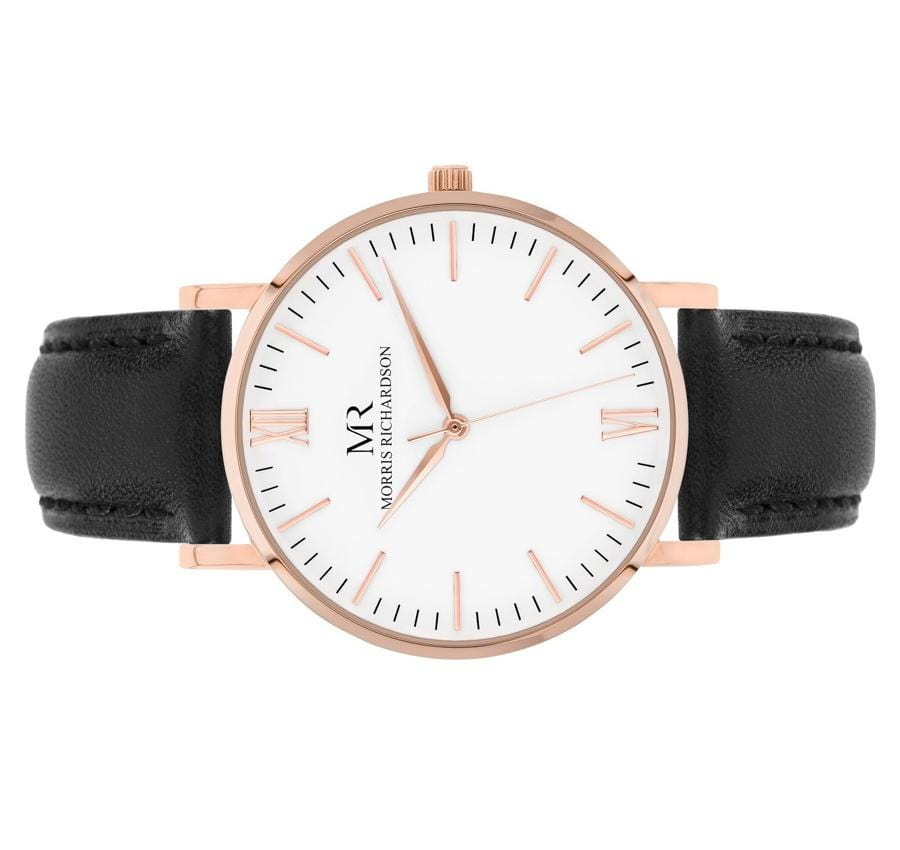 Womens Chequers Classic Rose Gold 36mm Leather Watch – Morris Richardson