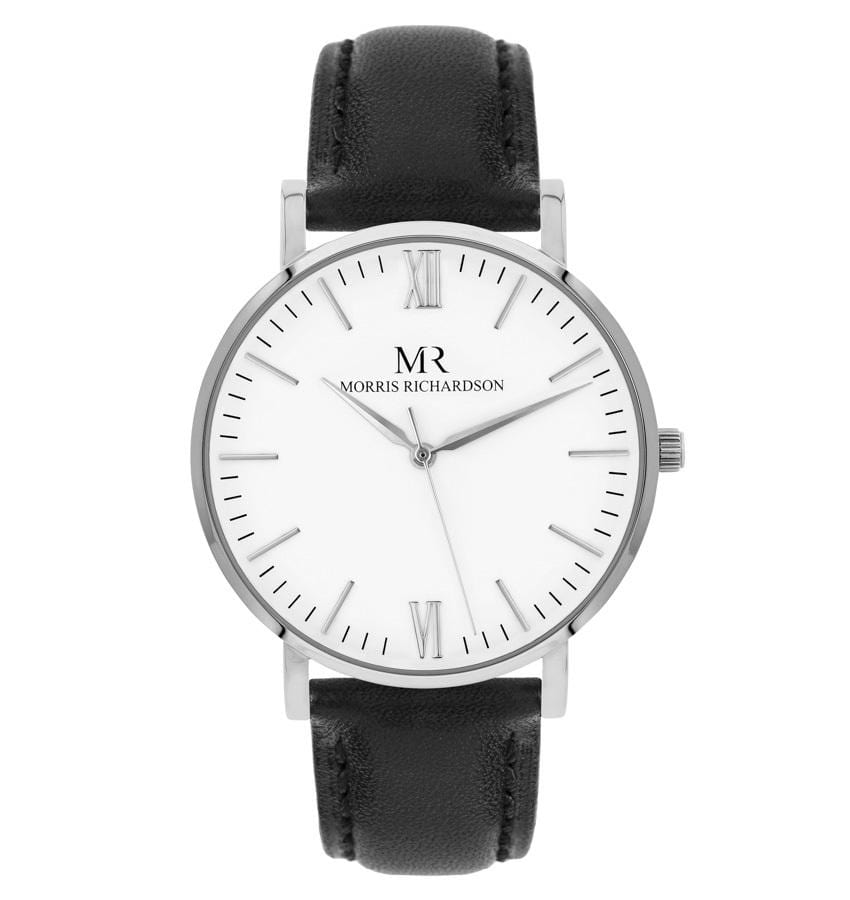 Chequers Watch Leather 36mm Silver – Morris Richardson
