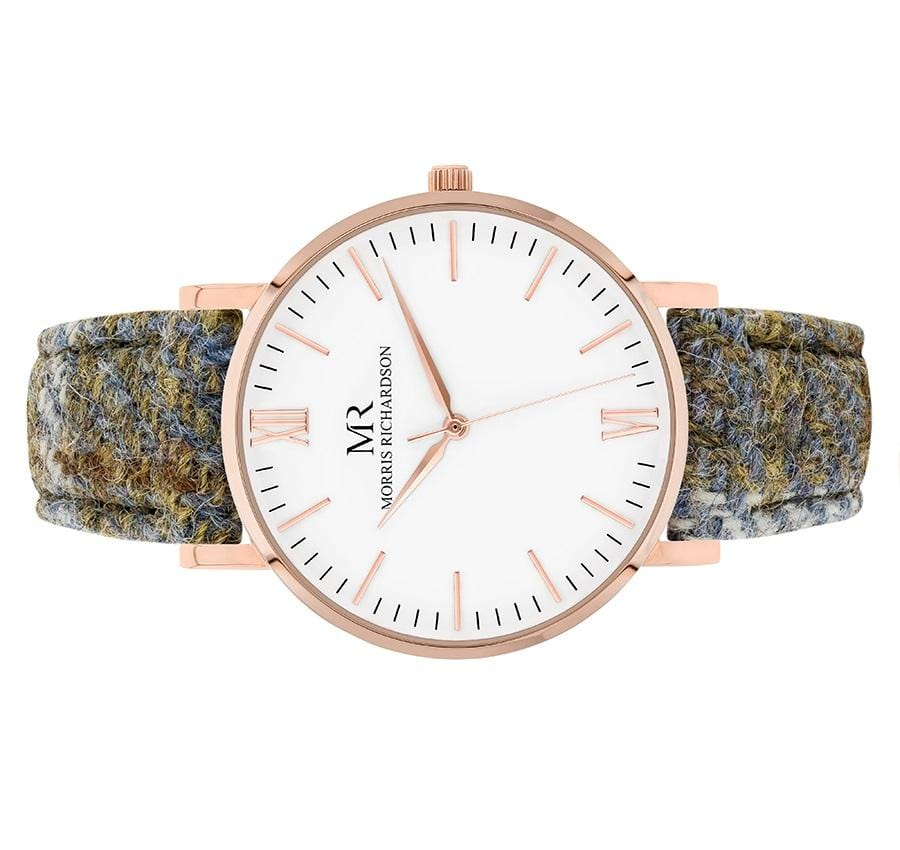 Womens Highclere Classic Rose Gold 36mm Harris Tweed Watch – Morris Richardson