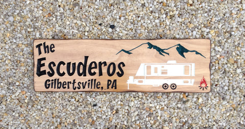 Custom Wood Camp Sign with Camper Trailer - Simply Said Signs