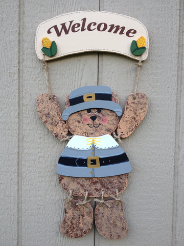 Welcome Bear Sign with Thanksgiving Pilgrim outfit - Simply Said Signs